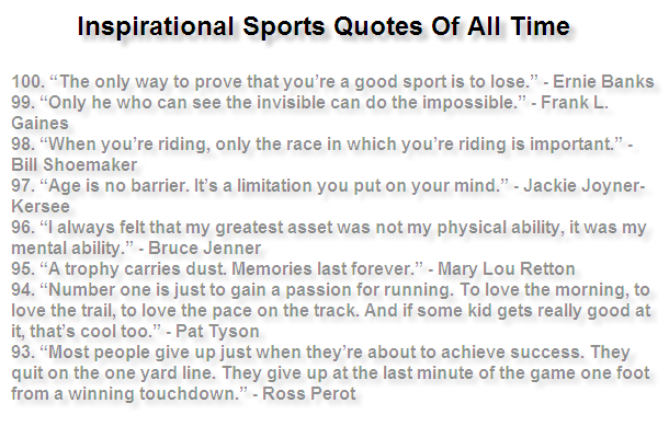 inspirational sports quotes the truth about it one